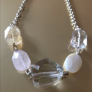 Pink Crystal Glass Bead Silver Necklace NWOT